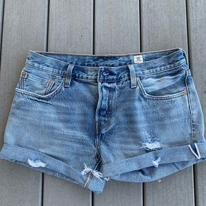 Levi's WHITE OAK cut-off distressed denim shorts